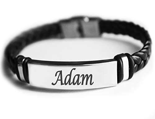 ADAM - Pulsera de piel trenzada para hombre, personalizable, para regalo para hombres, cumpleaños, Navidad
