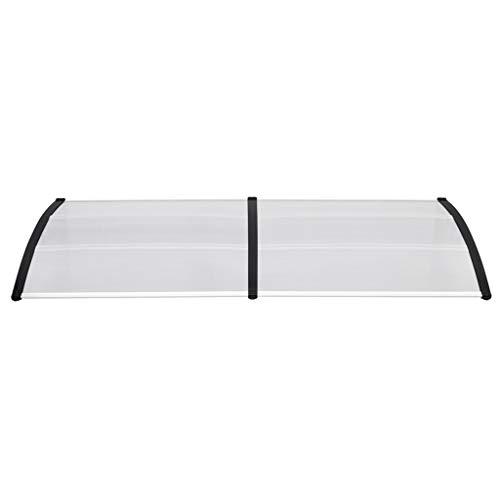 UISEBRT Vordach für Haustür 300 x 100 cm - Transparent Polycarbonat Pultvordach Überdachung 5 mm, Schwarz (300 x 100 cm, Schwarz)