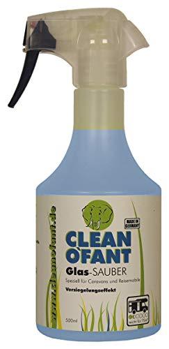 CLEANOFANT Glas-SAUBER - 500 ml - Kraftvoller Glasreiniger für Wohnwagen, Wohnmobil, Caravan, Zugfahrzeug und Haushalt