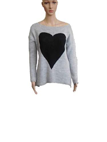 mymorgante pullover met hart fijne gebreide trui met boothals