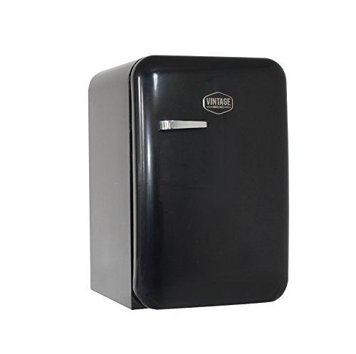 Vintage Industries ~ Kompakt Retro-Kühlschrank Kingston 2018 in schwarz | Mini-Bar 50er Jahre Look | Größe: 84cm & 115l Volumen | Tisch-Kühlschrank mit Temperatureinstellung, Wein- & Gemüsefach