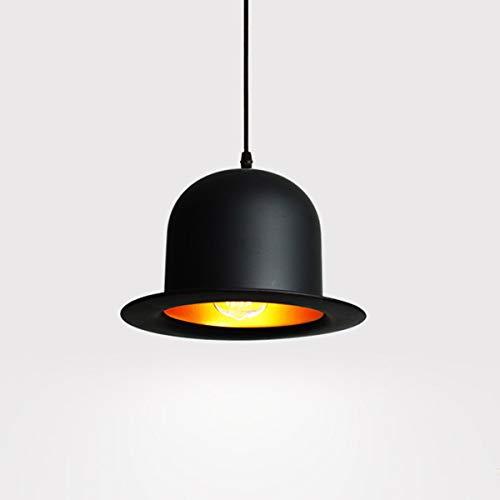 Hat Creative Chandelier hanglamp Shades Metal Black Kroonluchter plafond verlichting Hat Style 1-Light E27 200-240V WELSUN (Shape : Flat top hat, Size : AC 110V)