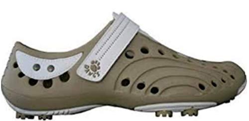 Dawgs golfschoenen dames maat 42 - beige/wit - zacht en duurzaam Eva-materiaal - uitneembare schuimbinnenzool - gevormde voetgewelfsteun - dikke gevoerde hiel.