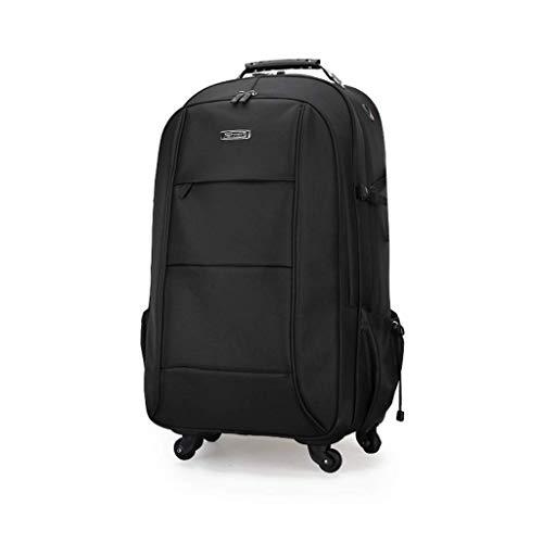 Heren Ultra-Lichtgewicht Zakelijke Reizen Op wielen Scroll Trolley Rugzak, Tablet Suitcase, Handbagage compartiment, Goedgekeurde Tas, Tote Bag Zwart (51 * 31 * 20cm)