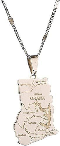 ZPPYMXGZ Co.,ltd Collar Collar de Acero Inoxidable de Color Plateado Tarjeta de Ghana Collares Pendientes Cadena de Mapa de Ghana Regalos de joyería