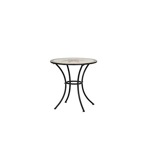 Siena Garden Tisch Stella, Ø70x71cm, Gestell: Stahl, pulverbeschichtet in schwarz matt, Fläche: Mosaik,Tischplatte: Keramik