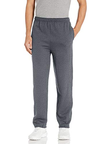 Gildan Men's Fleece Elastic Bottom Pocketed Pant, Dark Heather, Small