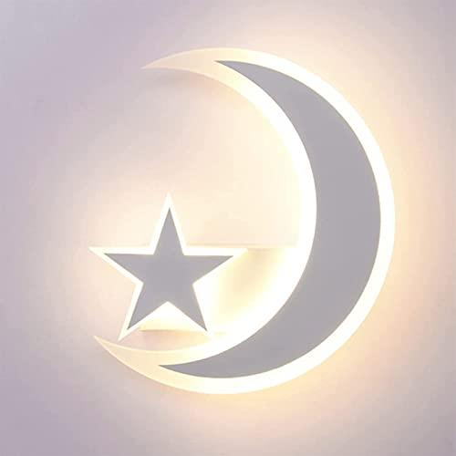 Lámpara De Pared De Estrella Blanca Luna LED Lámpara De Pared De Metal Acrílico Dormitorio Aplique De Pared De Noche Sala De Estar Decoración De Iluminación