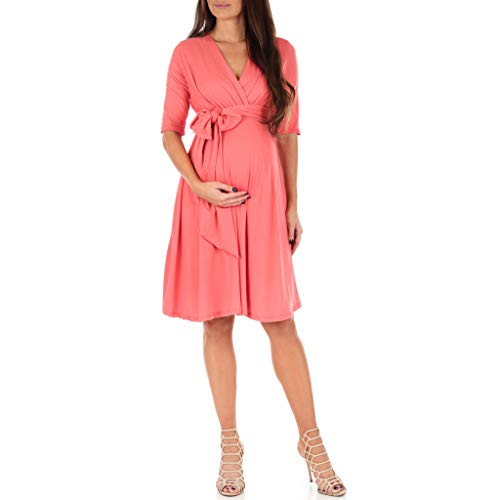 Mother Bee Maternity Women's Knee Length Wrap Dress with Belt for Baby Shower or Casual Wear (Coral, Medium)