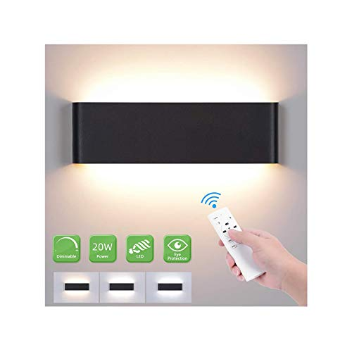 LED Wandlampe 20W, Led Wandleuchte Innen Dimmbar 2700K-6500K Up Down Einstellbare Helligkeit Moderne Smart Wandlampe mit 2W Nachtlicht Modus für Schlafzimmer Wohnzimmer Flur Treppen (Schwarz)