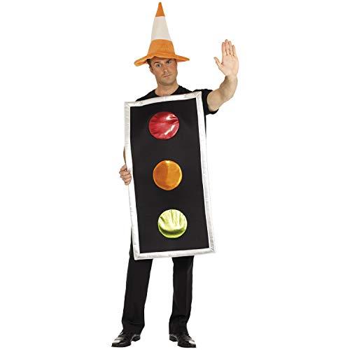 Amakando Divertido Disfraz de semforo para Adulto - Disfraz de Carnaval Hombre de trafico - El Punto Alto para Carnaval al Aire Libre y Fiesta de Disfraces