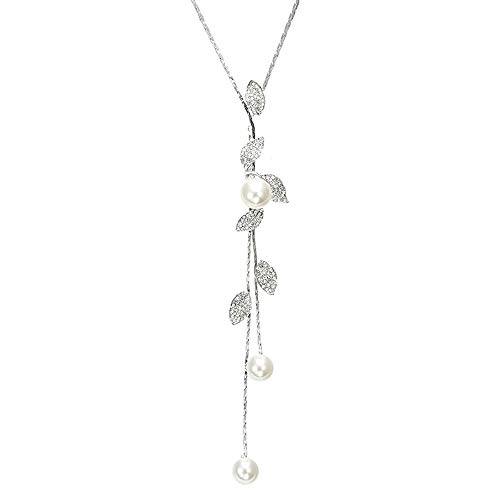 TULIP LY Shaped Y-Shaped Necklace Bohemian Crystal Pearl Flower Leaf Dangle Long Necklace Adjustable Elegant Tassel Sweater Chain Women Girl Jewelry (Leaf Pearl Necklace)