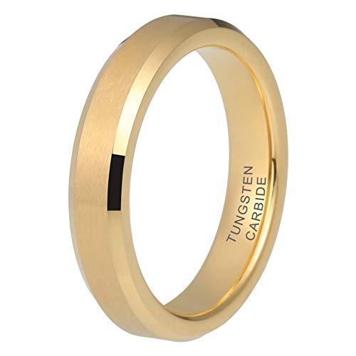 iTungsten 4mm 18K Gold Tungsten Rings for Women Men Wedding Bands Matte Finish Beveled Edges Comfort Fit Jewelry Rings