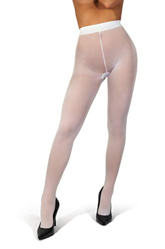 sofsy Opaque Microfibre Tights for Women - Invisibly Reinforced Opaque Brief Pantyhose 40Den [Made In Italy] White 4 - Large