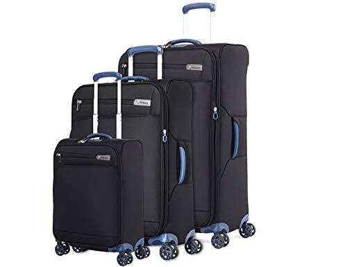ABISTAB Verage Visionary 4 Doppelrollen Trolley Gepäck-Set 3 teilig S M L große Koffer mit Handgepäck, erweiterbar, TSA-Schloss, Weichgepäck Reisekoffer Stoff wasserabweisend, Schwarz