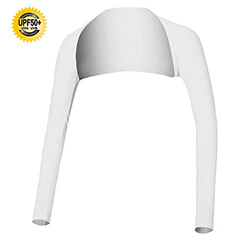 Hairwilly Advanced Anti-UV Cooling Shawl Arm Sleeve Sun Protection Comfortable & Breathable for Women Golf & Outdoor Sports (White, M)