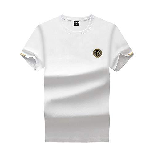 Summer New Korean Herren Fashion Trend Explosion mercerisierte Baumwolle Shirt Hirschkopf bestickt T-Shirt Herren Kurzarm Lose Gr. XXXXL, weiß