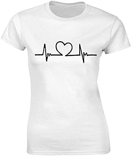 Camiseta de mujer con frecuencia cardíaca con corazón pequeño en el medio estoy absolutamente en amor bnft