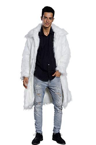 Old DIrd Men's Long Sleeve Fluffy Faux Fur Warm Coat Outerwear N02 White L