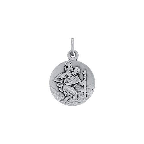 Médaille ronde Saint-Christophe en argent rhodié