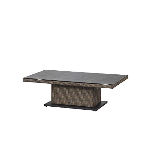 Siena Garden Lifttisch Teramo, 75x130x40/52/65cm, Gestell: Aluminium, pulverbeschichtet, Fläche: Gardino-Geflecht in bronze,Tischplatte: Spraystone