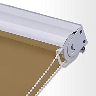 PASSENGER PIGEON Blackout Window Shades, Premium Metal Valance Thermal Insulated Fabric Custom Roller Blinds Shades,48