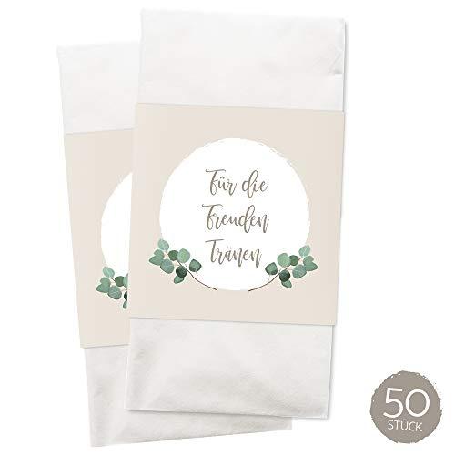 WEDDNG Freudentränen Banderole Boho (50 Stück), Banderolen für Freudentränen Taschentücher mit Klebepunkt zu verschließen, Gastgeschenke Hochzeit