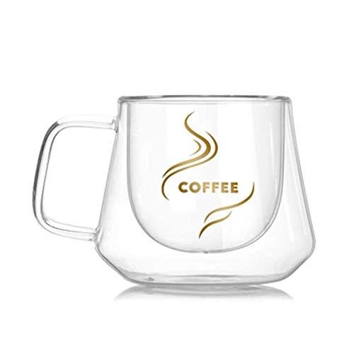 GZSC Reutilizable Taza de café Nueva Taza de Vidrio de Doble Pared de 200 ml Tazas de Oficina Aislamiento térmico Taza de café Doble Taza de Vidrio de café Drinkware Envío de Gota de Leche