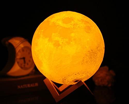 Lámpara de luna llena de 15 cm, lámpara de pie moderna LED de noche regulable con control táctil, carga USB, luz regulable para niños, amantes de amigos, cumpleaños, regalos de Navidad