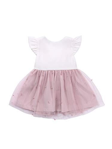 Carolilly Vestido de verano para niña, cuello redondo, tutú de princesa, multicapa, de encaje con cremallera en la parte trasera Rosa A. 6-12 Meses
