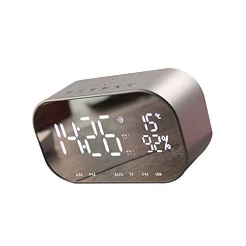 rongweiwang Altavoz portátil Bluetooth Ayuda Temperatura Altavoz Bluetooth LED de visualización de Radio FM Altavoz estéreo del Reloj de Alarma inalámbrico Reproductor de música, Plata