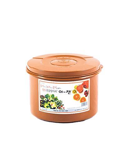 E-Jen Premium Kimchi, Sauerkraut Container Probiotic Fermentation with Inner Vacuum Lid Round (0.8 gal/ 3L)
