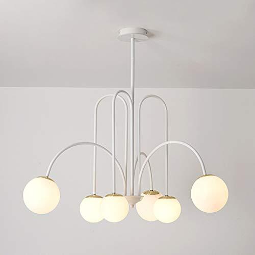 YWSZJ Candelabro Led nórdico en la Sala de Estar Cocina Dormitorio Loft Lámpara Colgante Iluminación Moderna para el hogar (Color : White)