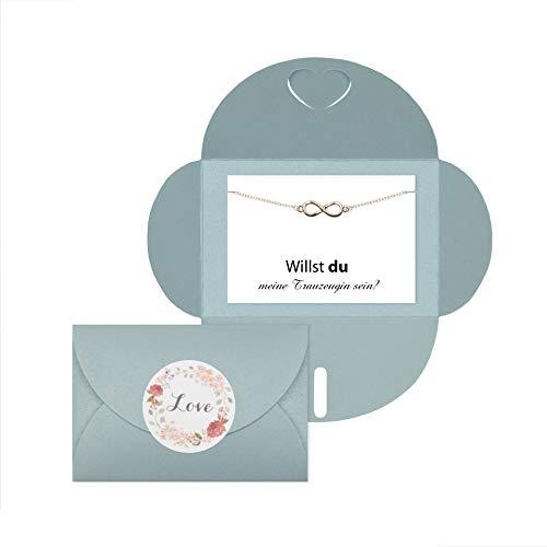 Lillyville - Trauzeugin Geschenk mit Infinity Armband Rosegold und Karte - Willst du Meine Trauzeugin Sein? - Hochzeit - Umschlag hellblau