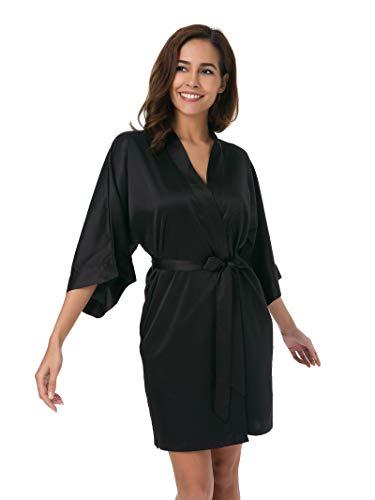 SIORO kimono bata corta camisones bata satén pijama bata sedosa albornoz boda niñas ropa de dormir nupcial negro L
