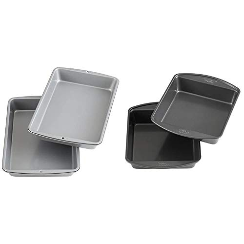 Wilton Recipe Right Non-Stick 9 x 13-Inch Oblong 2 Cake Pan Multipack, 2-Pack, Assorted & Perfect Results Premium Non-Stick 8-Inch Square Cake Pans, Set of 2