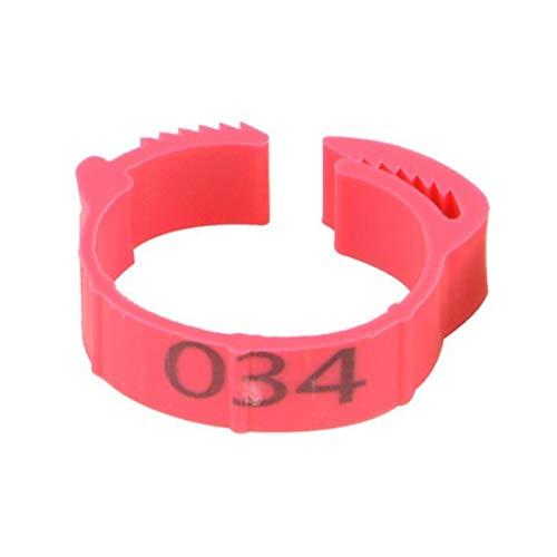 ZYYXB 100 Stück Hühnerbein Ringe Pigeon Feet Ringe Multiple Color Huhn Identification Beinbänder Nummerierte Clip auf Leg Ringe für Enten Hühner Geflügel (Rose Red)