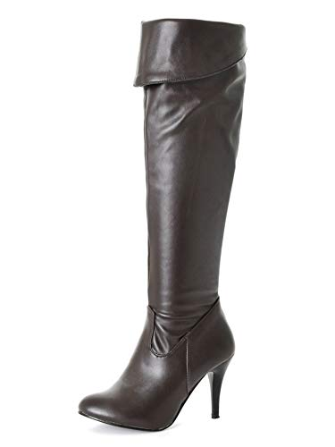 Minetom Mujeres Tacón De Aguja Zapatos Moda Invierno PU Cuero Largas Tacón Alto Botas hasta Las Rodillas Cremallera Boots de Montar B Marrón 39 EU