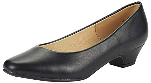 DREAM PAIRS Women's Mila Black Pu Low Chunky Heel Pump Shoes Size 5 M US