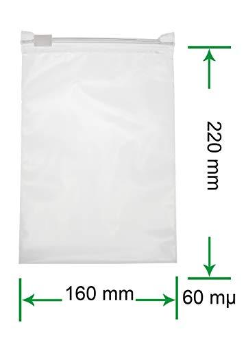 HeiZip 50 x Ziehverschlussbeutel 160 x 220 mm DIN A5, 60 mµ/MY, Transparent, Wiederverschließbar, Lebensmittelecht
