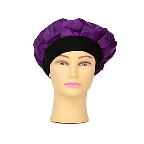 Matedepreso Chapeau de traitement des cheveux, bonnet chauffant pour traitement des cheveux à la vapeur, bonnet chaud et froid pour spa (violet)