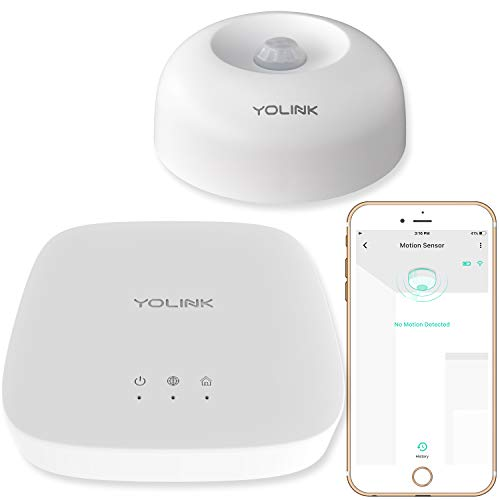 Smart Motion Sensor, YoLink 1/4 Mile World's Longest Range Wireless Motion Detector Compatible with Alexa IFTTT, Movement Detector App Alerts Remote Monitor for Indoor Use, YoLink Hub Included