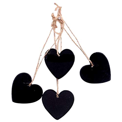 SUPVOX Deko Herz Mini Tafel Geschenkanhänger Deko Hänger Herz Anhänger Hochzeit Hänge Deko Party Deko 10 Stück (Schwarz)