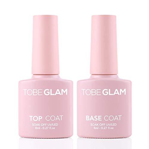TobeGlam Base Top Coat Set Nagellack Unterlack Überlack für DIY Art perfekte glänzende Farblackierung Schützt & Versiegelt Nägel Decklack und Basislack-Set Semi-permanent...