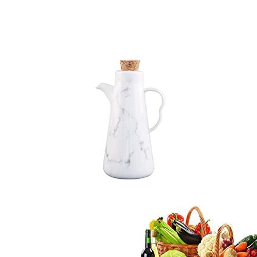 LYFWMGOD Aceitera de Cerámica,Dispensador de Aceite de Oliva con Tapón, Botella Contenedor de Aceite y Vinagre Salsa de Soja - Aceiteras de Cocina, Prueba de Fugas Botella de Aceite/white