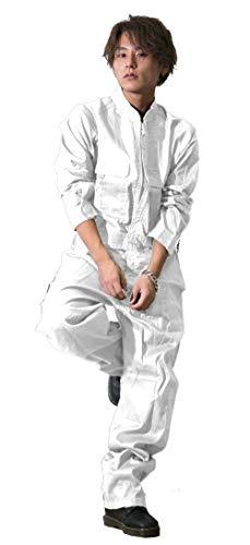 つなぎ メンズ カーゴ 10カラー 3way ジップアップ ツナギオールインワン オーバーオール ツナギパンツ パンツ 長袖 オシャレ アウター ハイネック WHITE(白) 4L