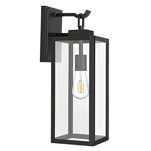 Outdoor Wall Lantern with ST19 LED Bulb,2700K,60W Equivalent, Matte Black Wall Light Fixtures, Architectural Wall Sconce with Clear Glass Shade for Entryway, Porch, Doorway, ETL Listed,1 Pack
