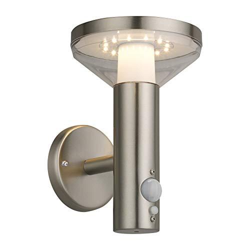 Solarlampen für Außen, Außenleuchte mit Bewegungsmelder, LED Außenlampe für Garten Balkon - Edelstahl, 3000K Warmweiß Licht, 600Lumen, IP44 Dichtung, Bewegungssensor, Energieklasse A+ 【Model 1957】…