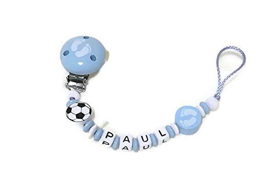 Baby Schnullerkette mit Namen Junge *Fußball/Füßchen*