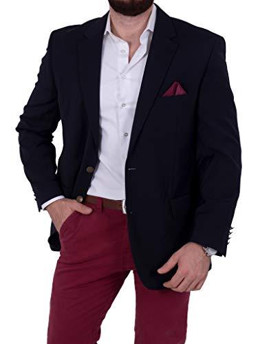Unbekannt Herren Sakko Schurwolle/Polyester klassisch Reverskragen Blazer Zweiknopf Jackett Anzug Slim Fit bequem (28, Navy)